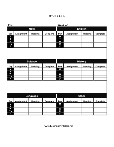 Study Log Teachers Printable