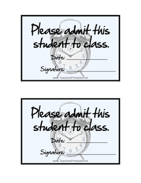 Tardy Slips Large Teachers Printable