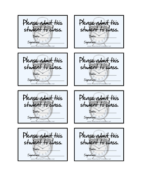 Tardy Slips Small Teachers Printable