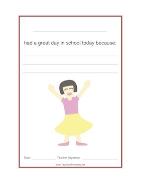 Girl Had a Great Day Teachers Printable