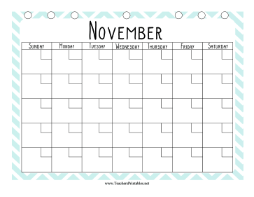 Teacher Organization Binder Calendar November Teachers Printable
