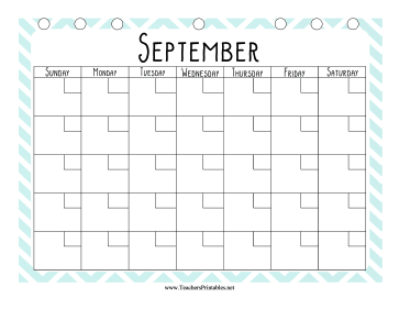 Teacher Organization Binder Calendar September Teachers Printable