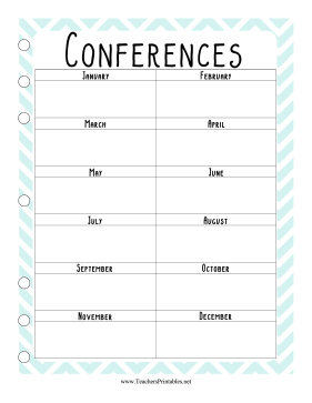 Teacher Organization Binder Conference Calendar Teachers Printable