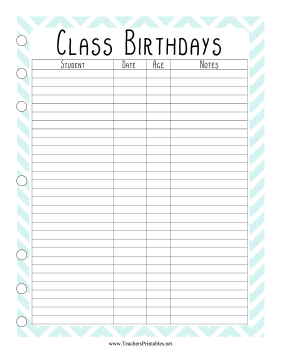 Teacher Organization Binder Student Birthdays Teachers Printable