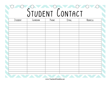 Teacher Organization Binder Student Contact Teachers Printable