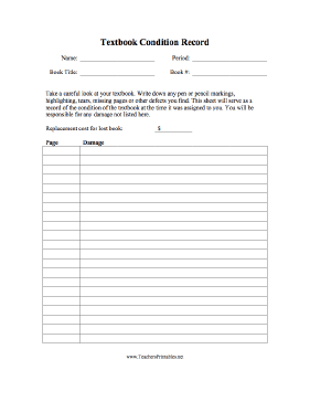 Textbook Condition Record Teachers Printable