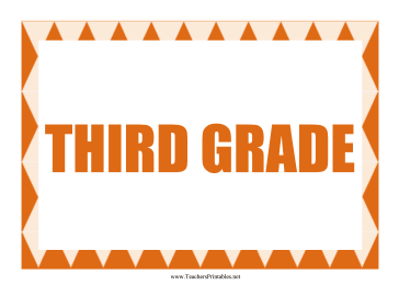 Third Grade Sign Teachers Printable