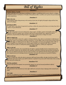 US Bill Of Rights Teachers Printable