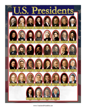 US Presidents Chart Teachers Printable