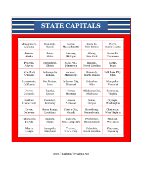 US State Capitals Teachers Printable