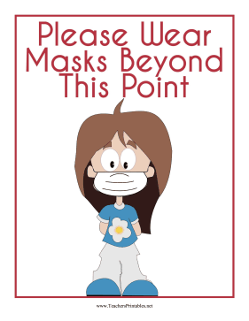 Wear Masks Beyond This Point Sign Teachers Printable