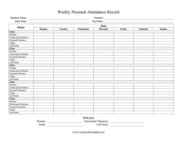 Weekly Personal Attendance Record Multiple Classes Teachers Printable