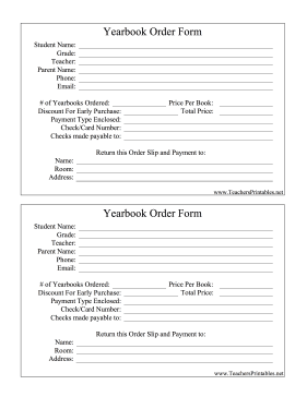 Yearbook Order Form Teachers Printable