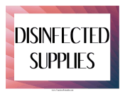 Disinfected Supplies Label