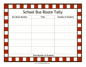 School Bus Route Tally