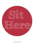 Sit Here Circle Red