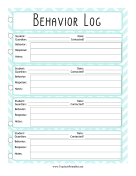 Teacher Organization Binder Behavior Log