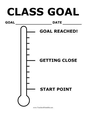 photo regarding Printable Goal Thermometer identify Clroom Objective Thermometer Poster