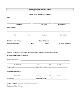 Emergency Contact Form Png .  Contact Information Template