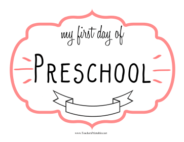 image regarding First Day of Preschool Printable referred to as Initially Working day Preschool Signal