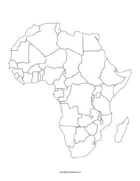photo relating to Printable Africa Map named Blackline Map of Africa