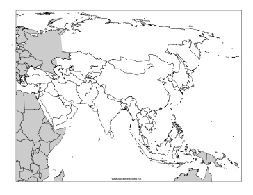 Blackline Map of Asia