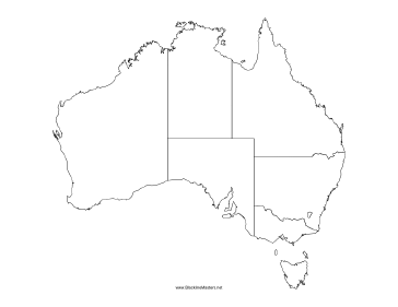 photograph about Printable Map of Australia called Blackline Map of Australia