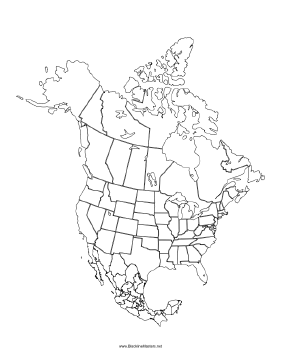 Blackline Map of North America