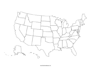 United States Blackline Map - Usa map blank printable