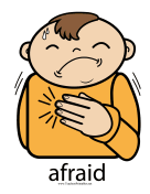Afraid Sign Color teachers printables