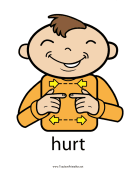Hurt Sign Color teachers printables